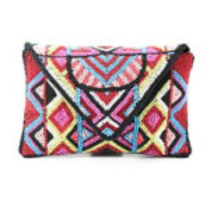 BCBGeneration Leather Beaded Envelope Clutch NEW!